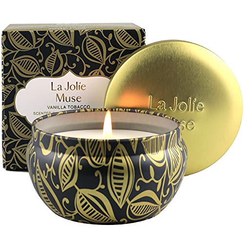 La Jolíe Muse Vanille-Tabak Duftkerze, 100{685062120ae7ff857b4b86fb6d35a8b187039e50cdc8df42d8506f811c92498a} natürliche Sojakerze für zu Hause, Geschenk für Vatertag, 35-45 Stunden lang brennend, Dosen-Kerze, 185g