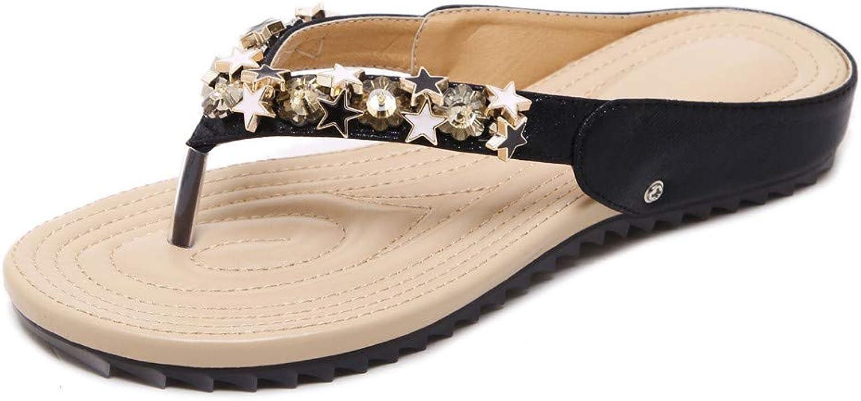 XMYL Flip Flops for Women Fashion Beading Flat Thong Ultra Comfort Beach Slippers