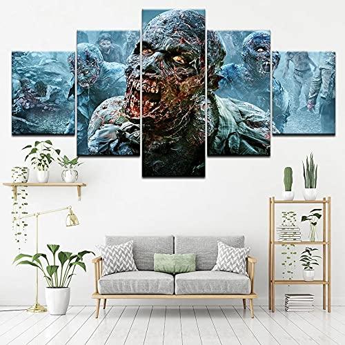 GUANGWEI HD Poste Impresión Modular Alta Definición con Marco Elástico Moderno De Tela No Tejida Zombie Movie Poster Muebles Modernos Arte Decoración Pared Pintura 5 Pinturas Combinadas