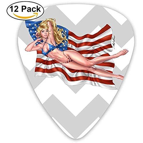 Sherly Yard 12 Pack Púas de guitarra personalizadas Rubio sexy con bandera americana Surtido de varios espesores para mandolina