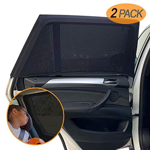 """Amteker 2 Pack Sonnenschutz Auto Baby mit UV Schutz - UV Schutz Sonnenrollo Autofenster für Kinder Baby Erwachsene Haustiere - Tragbare Auto Sonnenblende - 40\""""x20\"""" für Die Meisten Auto"""