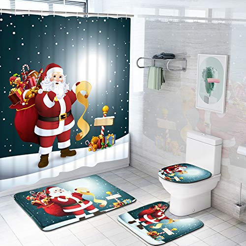 TAMOC 4 Pcs Christmas Xmas Shower Curtain Set with Non-Slip Rug, Toilet Lid Cover and Bath Mat, Santa Claus Shower Curtain with 12 Hooks, Waterproof Shower Curtain for Bathroom