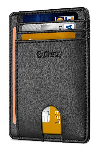 Buffway Slim Minimalist Front Pocket RFID Blocking Leather Wallets for Men Women - Sand Black