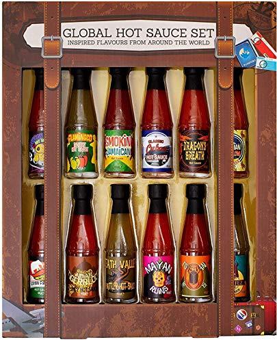 Modern Gourmet Foods - Chili-Saucen Geschenkset - Hot Sauce Set mit 12 international inspirierten scharfen Saucen