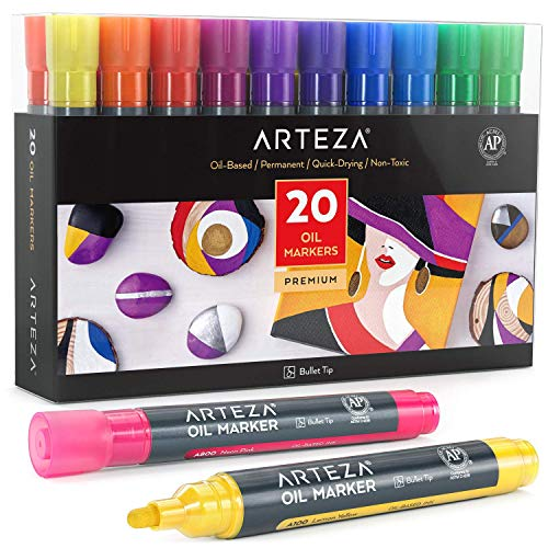 Arteza Rotuladores permanentes de colores   Pack de 20   Tinta al óleo   Rotuladores para pintar en cartulina negra, piedra, madera y más
