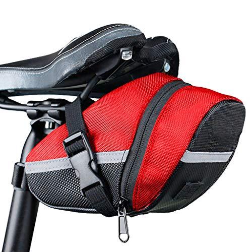 ppol Bolsa de sillín de almacenamiento ligera impermeable para bicicleta de montaña, bolsa de sillín compacta para bicicleta de carretera, uso diario, coche de carreras, ciclismo al aire libre (rojo)