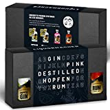 LiquorMacher Gin & Rum Geschenke-Box I Gin-Genuss Made in Germany I Alkohol-Gehalt 38,5-45 Vol.-% I 4x 50 ml