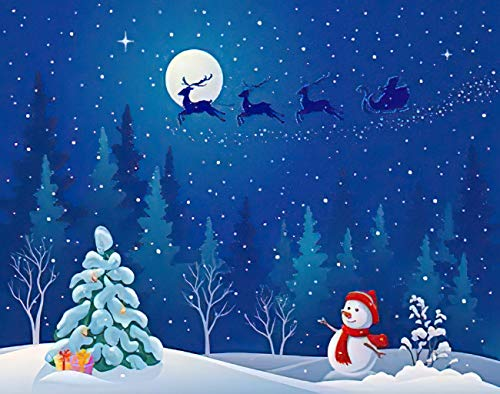 Aluffay Xmas Snowman Diamond Painting Kits, Santa Sleigh Driving Over Woods and Greeting Snowman, 5D DIY Full Drill Diamond Art Set for Home Wall Decor Adults and Kids 12 x 16 inch