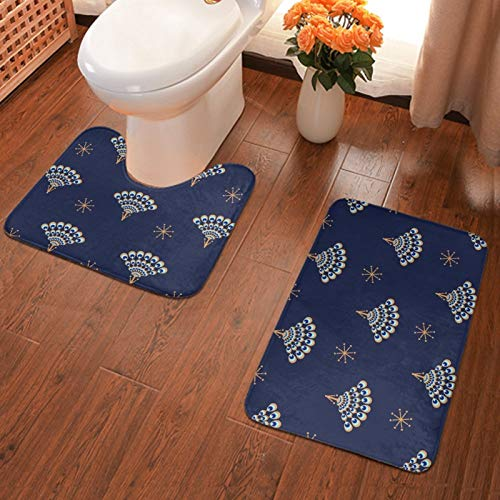 NiYoung Washable 2-Pack Peacock Geometric Wave Fan Bath Rugs & Mats, Best Softness and Absorbency for Home/Hotel Bathroom Shower