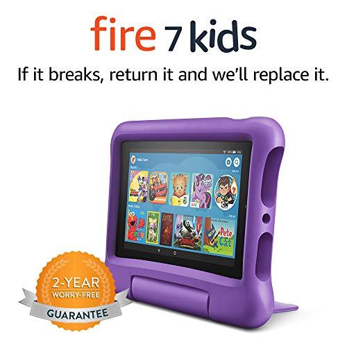 "Fire 7 Kids Tablet, 7"" Display, ages 3-7, 16 GB, Purple Kid-Proof Case"