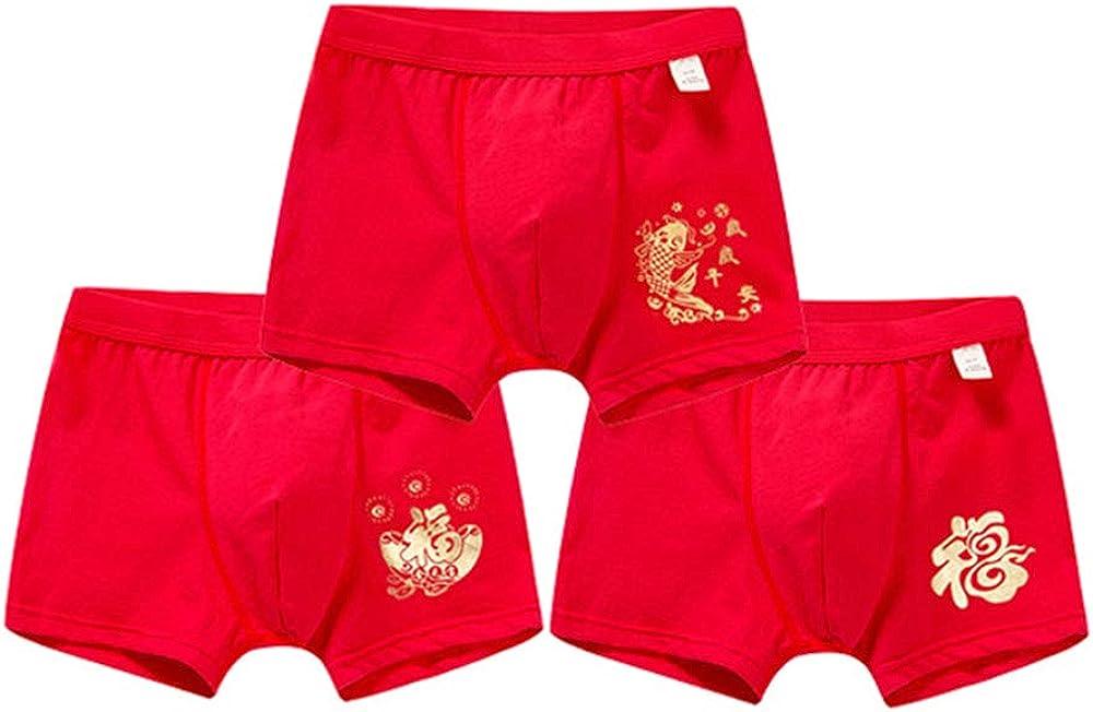 BOZEVON China Red Series Panties Girls Boys Boyshort Underwear Cotton Briefs