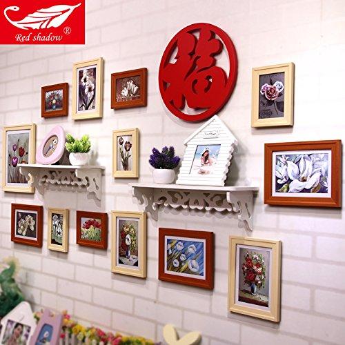 HJKY Photo Frame Wall Set Champ Fu table-étagère Photo Combo mur dans le salon salle à manger Chambre à coucher des murs à ossature de bois simple et petit mur Mur de photos couleur grumes noyer