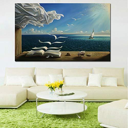 Karen Max Kunstdruck auf Leinwand, Motiv Salvador Dali, Motiv: The Waves Book Segelboot 24x36inch Frame
