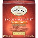 Twinings of London Decaffeinated English Breakfast Black Tea Bags, 50 Count (Pack of 6)