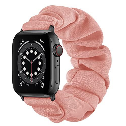 AdirMi Compatible for Scrunchie Apple Watch Band 42/44mm 38/40mm Cute Print Elastic Watch Bands Women Bracelet Strap for Apple Watch Series SE 6 5 4 3 2 1,C,38/40mm(S)