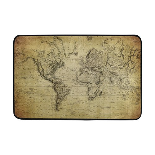 "Bennigiry Al Aire Libre Antideslizante Mat Decorativo para Puerta de Entrada, Vintage Mapa del Mundo Alfombra Alfombra, Custom Lavable Felpudo 23.6""(L) X 15,7(W)"