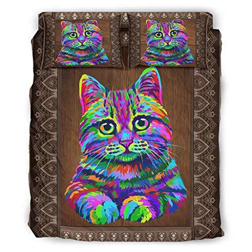 FFanClassic 4-teiliges Bettset Katze beliebtes knitterfreies Design – 4-teiliges...