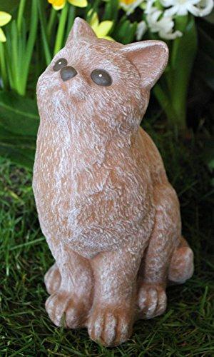 Steinfigur Katze sitzend - Terrakotta, wetterfeste Deko-Figur für Wohnung, Haus und Garten