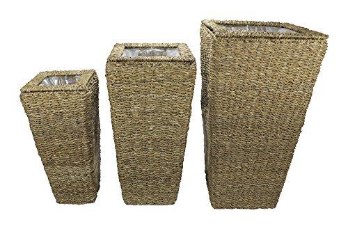 Decoline Blumentopf 3er Set aus geflochtener Wasserhyazinthe mit Einsatz