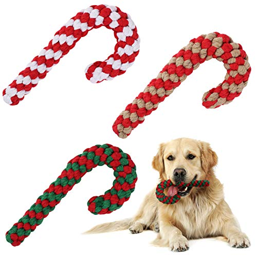 Elcoho 3 Pack Christmas Dog Chew Toys Gifts Candy Cane Rope Pets Puppy Knotted Chew Rope Toys for Small Medium Large Dog, Assorted Colors