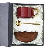 GYZD Cafetos de cerámica/Tazas de té y Tazas de Taza de café de Taza de café Set de Taza de té de Porcelana con la Cuchara Caja de Regalo de Regalo del día de la Madre del día de la Madre,Rojo