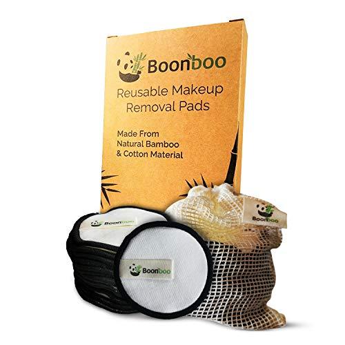 Boonboo Lot de 16 tampons démaquillants réutilisables en fibre de bambou et de coton Durable et biodégradable Sans plastique