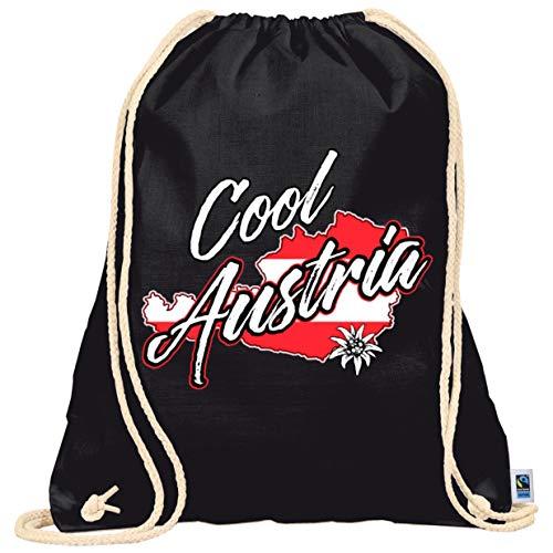 Turnbeutel schwarz mit weißer Kordelschnur - Cool Austria auf Gymbag, Turnbeutel, Sportbeutel, stylisches Modeaccessoire, Tasche, Unisex Rucksack,