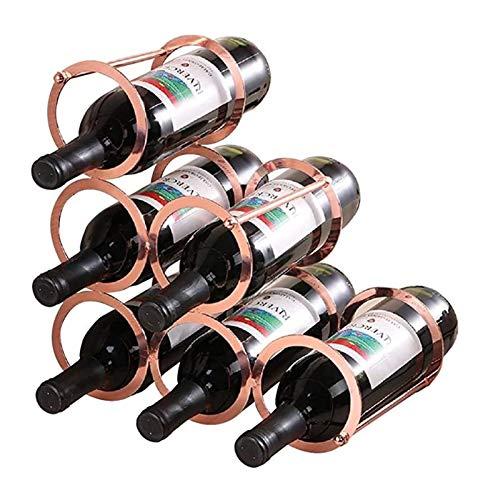 Tenedor de Vino del Estante de Vino 6 Libros de Vino Champagne Caja de Almacenamiento de la Caja de Almacenamiento Interior (Bronce)