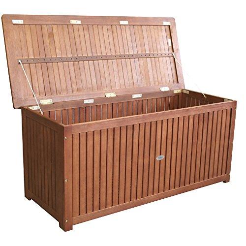 Wohaga® Gartenbox 133x58x55cm inkl. Innenplane Auflagenbox Kissenbox Gartentruhe Holztruhe Hartholz Eukalyptus Auflagentruhe - 3