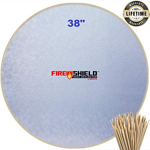 "Grill Mat and Fire Pit Mat (38""). Deck, Patio, Lawn Protector, Huge 38"" Fire Pit Pad Deck Protector with 50 Pieces Bamboo Marshmallow Sticks"