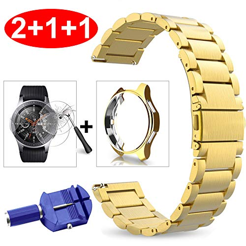 Miimall Kompatibel mit Galaxy Watch 46mm/ Gear S3 Armband Edelstahl Metall + Schutzfolie Panzerglas + Soft TPU Schutzhülle für Samsung Gear S3 Frontier/Classic Galaxy Watch 46mm - Gold