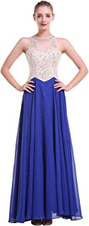 Crystal Beaded Prom Dress Sleeveless Round Neck A-line Long Floor Length Chiffon Evening Party Dress