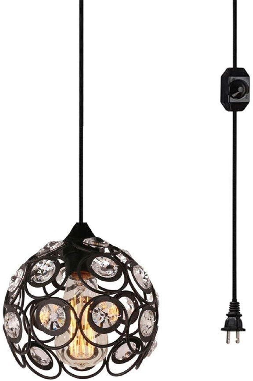 Xiadsk Licht, Lampe, Laterne Plug-in Crystal Pendelleuchte mit 15 'Kabel, Dimmer in Kabel, 1-Light, schwarz