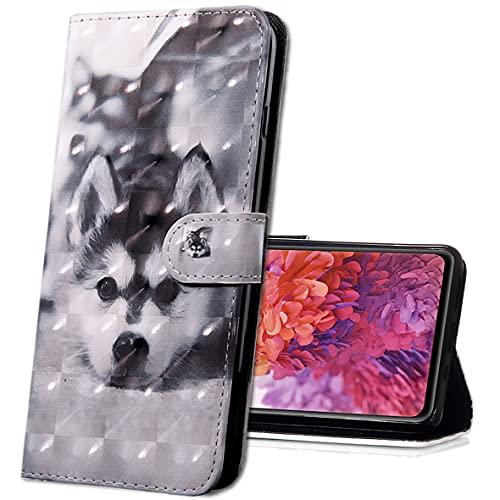 MRSTER Nokia 3.1 Plus Handytasche, Leder Schutzhülle Brieftasche Hülle Flip Hülle 3D Muster Cover mit Kartenfach Magnet Tasche Handyhüllen für Nokia 3.1 Plus (2018). BX 3D - Husky