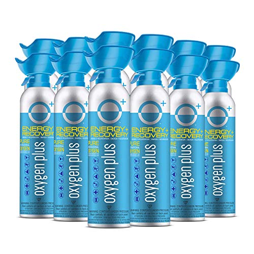 Oxygen Plus 99.5% Pure Recreational Oxygen Cans – O+ Biggi 12-Pack – Energy, Recovery – 11 Liter Cans, 50+ Uses – FDA-Registered Facility Oxygen – Canned Oxygen for Sports and Post Workout