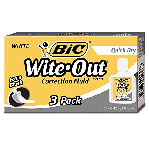 BIC WOFQD324 Wite-Out Quick Dry Correction Fluid, 20 ml Bottle, White, 3/Pack
