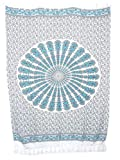 Sarong Pareo Mandala Maya II türkis-grau/große Auswahl schönste Farben/Wickelrock Strandtuch Sauna-Tuch Wickelkleid Schal Wickeltuch Bademode Freizeitmode Sommermode/aus 100% Viskose
