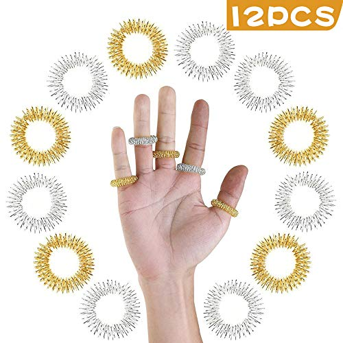 12 Pcs Acupressure Ring - Spiky Sensory Finger Massage Rings, Acupuncture Acupressure Finger Massager Ring Fidget Toys for Teens Adults Anxiety Stress Reducer (Gold & Silver)