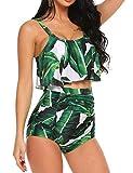 ADOME Swimsuits for Women Bikini Swimsuit 2 PCs High Waist Floral Swimwear with Tummy Control Green, S