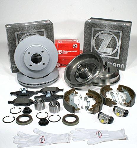 Autoparts-Online Set 60012459 Zimmermann Bremsen Set Vorne + Bremstrommel Backen Radlager Radzylinder Zubehör für Hinten
