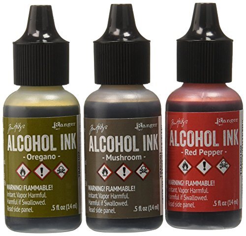 Ranger Adirondack Alcohol Ink 1/2-Ounce, 3-Pack, Tuscan Garden, Red Peppr/Mushroom/Oregano