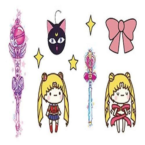 3pcsWaterproof Autocollant Sailor Moon Fille De Bande Dessinée Mignon Tatouage Enfant Fille Mâle Ms 3pcs-12