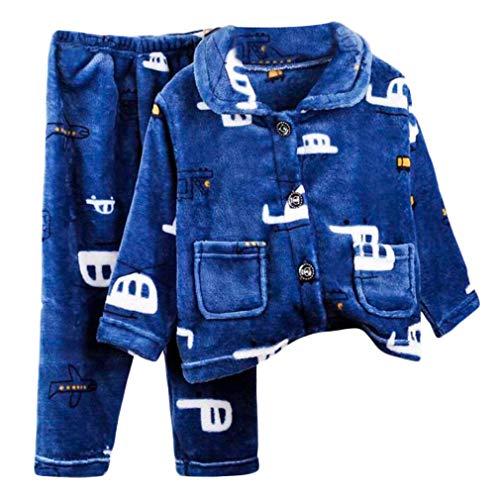 DEBAIJIA Bebé Ropa de Casa 2-12T Infantil Homewear Niños Pijama Niña Ropa de Dormir Niño Camisones Invierno Franela Calentar (Azul Marino-120)