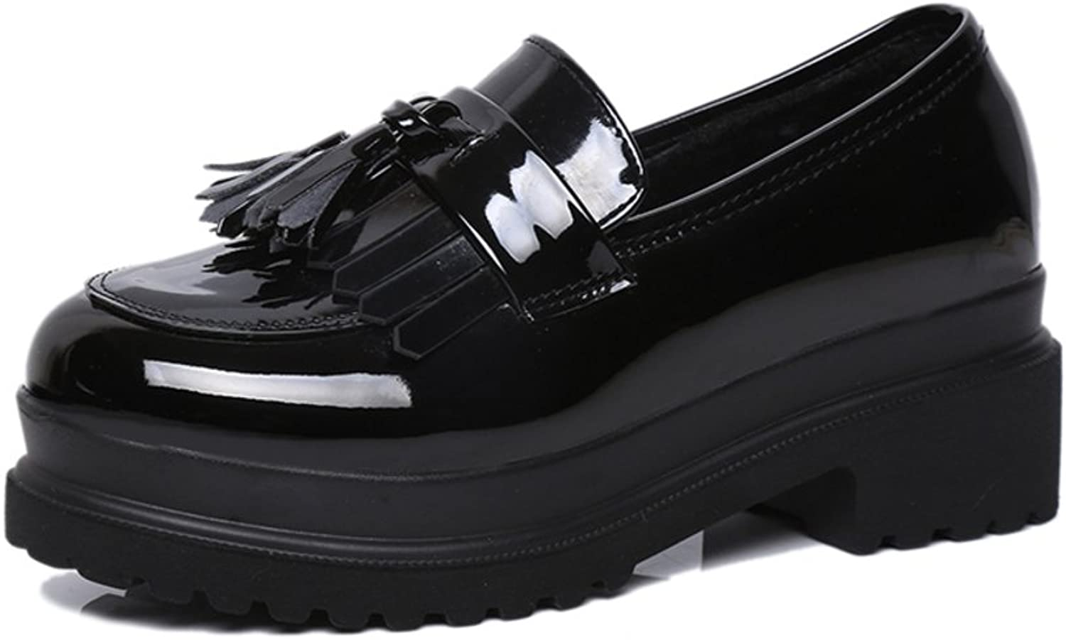 In spring and autumn in thick-soled shoes Vintage patent leather tassel shoes