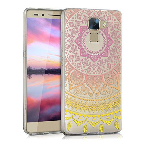 kwmobile Funda Compatible con Huawei Honor 7 / Honor 7 Premium - Carcasa de TPU y Sol hindú en Amarillo/Rosa Fucsia/Transparente