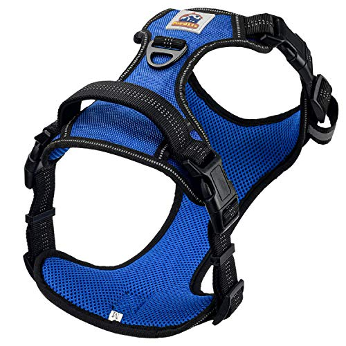 Pordlie Dog Harness No Pull Outdoor, Upgraded Easy Put on & Off No Choke Pet Harness with Control Training Handle, Adjustable Reflective Padded Vest Harness for Small Medium Large Dogs(L, Navy)