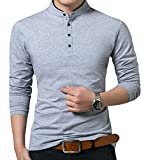 ❤Material: 95% Cotton,5%Spandex, US size ❤Nice soft cotton, great design long sleeve polo shirts for men. ❤Comfortable long sleeve polo T-shirts, slim fit shirts, pull on closure ❤This cool button polo t-shirts has various colors that you can mix wit...
