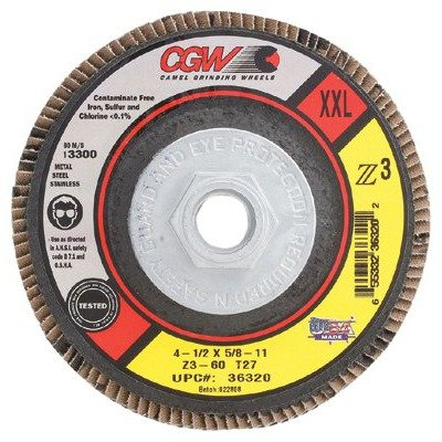 Pack of 10 CGW Abrasives 421-42361 Flap Discs X-Large T29 Z3-100/% Zirconia 7//8 Arbor 13,300 RPM 36 Grit 4 1//2