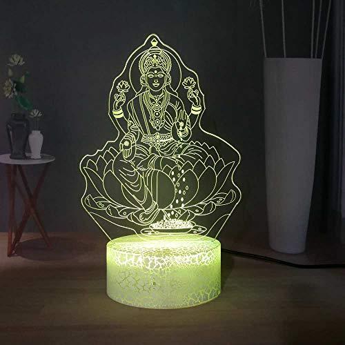Sanzangtang Led-nachtlampje, 3D-afstandsbediening met zeven kleuren, boeddhistisch geloof en slaap, nachtlampje, hoofddecoratie, Guanyin Boeddha, optische tafellamp, boeddhistisch cadeau-nachtlampje