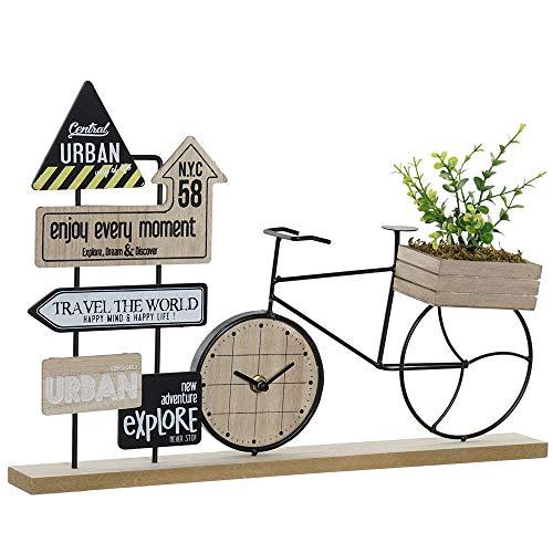 Item Reloj sobremesa Decorativo con diseño de Bicicleta en Madera y Metal Eco-Friendly 43,5x9x28 analógico